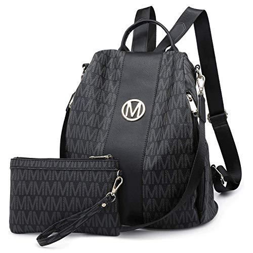 MKP Lightweight Women's Backpack Multi Zipper Pocket Signature College School Anti-Theft Rucksack Shoulder Bag Handbag for Women w/ Wristlet Wallet Set (Black)