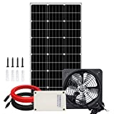 Pumplus Max Airflow Solar Powered Roof Vent Fan System, 12.6in Fan + 100W Solar Panel + Battery For Home Attic, Shed, Garage or Greenhouse Ventilation
