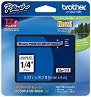 Genuine Brother 1/4 (6mm) Black on Clear TZe P-touch Tape for Brother PT-1910 PT1910 Label Maker [並行輸入品]