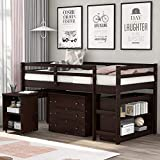 Merax Solid Wood Twin-Size Low Loft Bed Frame with Ladder for Kids Bunk, Cabinet + Desk, Espresso