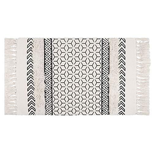 SHACOS Tapis Tufté Moderne Lavable Tapis Rectangulaire Tapis d'entrée intérieur Salon Chaise Pivotante Tapis Blanc et Noir Geometrique 60 x 90 cm