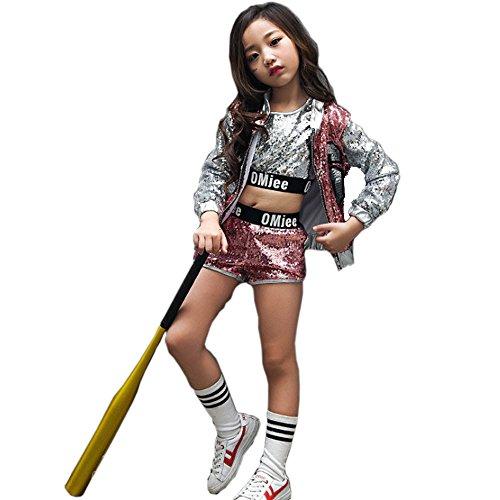 VoleseniTM Mädchen Kinder Modern Jazz Hip-Hop Dancewear Kids Dance Pailletten Mantel Kostüm, Rose, 140 cm