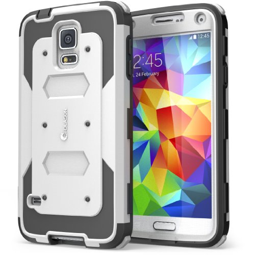 i-Blason Case Designed for Galaxy S5, Armorbox Dual Layer Hybrid Full-body Protective Case with Front Cover and Built-in Screen Protector / Impact Resistant Bumpers (White)