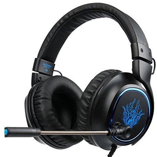 2017 SADES R5 3.5mm Multi-Platform Cuffie Gaming, Cuffie da Gioco Con Microfono Controllo del Volume Noise Cancelling Per New Xbox uno/PS4/PC/Laptop/Mac/iPad/iPod(Nero/Bl