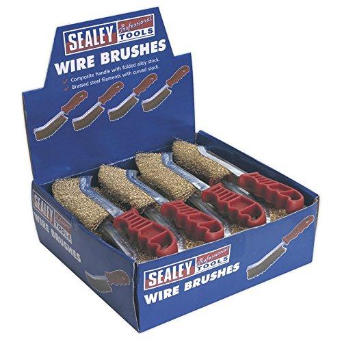 SEALEY brosse métallique Brassed acier poignée en plastique Film de boîte avec 24