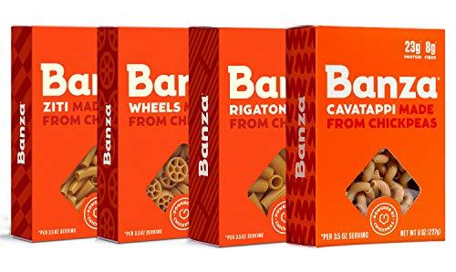 Banza Chickpea Pasta, Variety Pack (Rigatoni/Cavatappi/Ziti/Wheels) - Gluten Free Healthy Pasta, High Protein, Lower Carb and Non-GMO