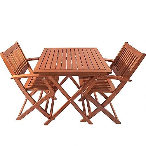 BIANGEY Conjunto de Muebles de jardín Plegable, Juego de bistró 3 Piezas, producción de Madera Maciza de eucalipto, 2 sillas y 1 Mesa Redonda, para jardín, terraza, Villa, Junto a la Piscina