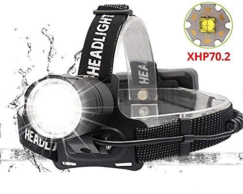 Stirnlampe,LED Stirnlampe Super Helle XHP70.2 USB Wiederaufladbare Led-scheinwerfer Leistungsstärkste Scheinwerfer Angeln Camping Zoom Taschenlampe durch 3 * 18650 Batterie Notbeleuchtung