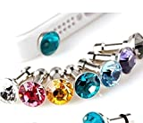 WOIWO 100 Pcs Colorful Diamond Anti Dust Earphone Jack Plug Stopper,for Smartphone Cellphone and any 3.5mm Earphone Jack