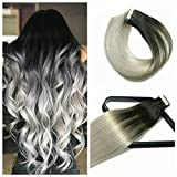 Tape In Hair Extensions Hair Balayage Ombre Hair 16In 0pcs/50g Per Set Natural Black Fading to Silver Gray Doublesides Tape Skin Weft Remy Silk Straight Hair Glue in Extensions Human Hair