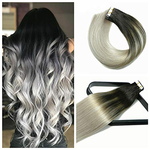 Tape In Hair Extensions Hair Balayage Ombre Hair 20In 20pcs/50g Per Set Natural Black Fading to Silver Gray Doublesides Tape Skin Weft Remy Silk Straight Hair Glue in Extensions Human Hair