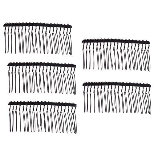 Minkissy Lot de 5 peignes à cheveux à 20 dents simples torsadés en fil métallique pour photos de mariage, quotidien, noir