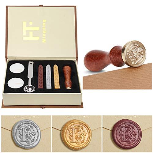Preisvergleich Produktbild PUQU,  Siegelwachs-Set,  Vintage-Initialen A bis Z,  Siegelstempel mit Wachs