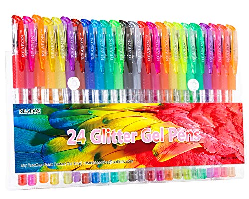 Glitter Gel Pens, 24 Color Gel Pen Glitter Markers for Bullet Journal, Medium Point Drawing Pen for Adult Coloring Books Doodling, 40% More Ink & Great Gift Idea for Kids