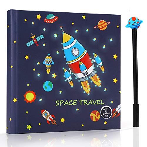 PowerKing Diario para niños, Cuaderno Espacial y Cuaderno Escolar con luz LED Intermitente para niños y niños, cumpleaños de Navidad