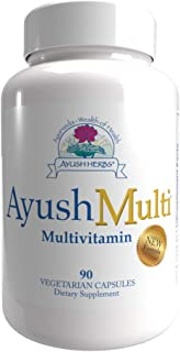 Ayush Herbs Multi, All-Natural Multivitamin for Women and Men, Natural Vitamin B and Zinc Supplements with CoQ10, Daily Vi...