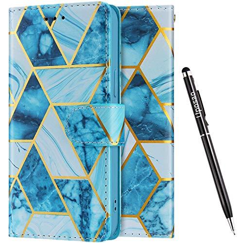 Uposao Kompatibel mit Samsung Galaxy Note 10 Lite Hülle Leder Schutzhülle 3D Marmor Muster Flip Wallet Bookstyle Case Magnet Kartenfach Tasche Handyhülle Lederhülle Klapphülle Kartenfächer,Grün
