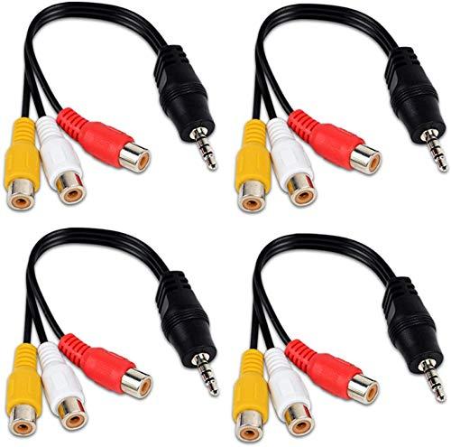 Paquete de 4 Cables AV de 3,5 mm a RCA, Cable de Audio y vídeo AV Triple RCA/Phono, Enchufe Macho a 3RCA, Cable Adaptador Hembra, Adaptador de vídeo para TV, Reproductor de DVD