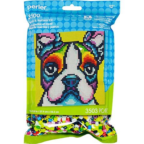 Perler Rainbow Terrier Dog Pattern and Fuse Bead Kit, 11'' x 11.5'', 3503pc