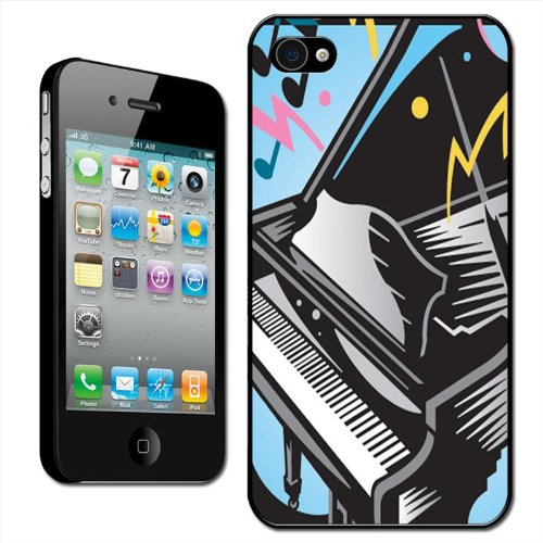 Fancy A Snuggle 'Awesome Rocking Black Grand Piano Speelmuziek' Clip Op Achterzijde Cover Hard Case voor Apple iPhone 4/4S