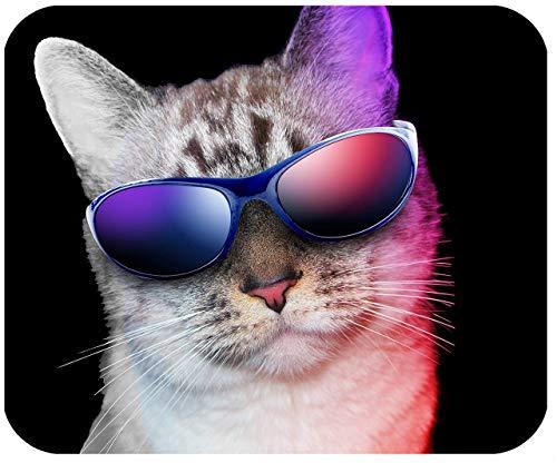 Benutzerdefiniertes mauspad, Personalisiertes mauspad - katze mit sonnenbrille - fügen sie einen beliebigen text hinzu