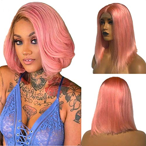 Pink Bob Lace Wigs Pre Plucked Natural Straight Human Hair Wig for Black Women 150% Density Lace Front Wigs Middle Part with Natural Hairline 10