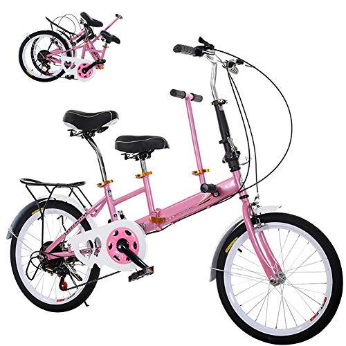 DYWOZDP Tandem Klappräder Travel Faltrad, Klappbar Tandem Fahrrad Family Fahrrad 2-Sitzer, Zusammenklappbar City Tandem Fahrrad, Last: 100 Kg, 20 Zoll,Rosa