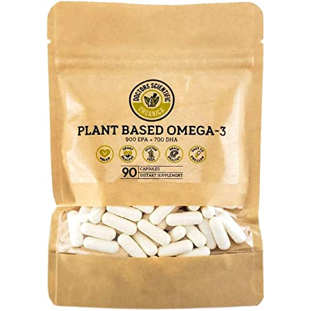 DSO Omega 3 Algae Supplement - 90 Capsules - Plant Based Fish Oil Vegan Supplement Alternative EPA & DHA Supplements - Heart Stress Relief & Weight Loss - Eco-Friendly Packaging - Made in The USA
