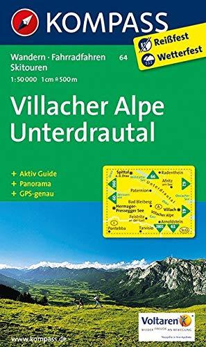 KOMPASS Wanderkarte Villacher Alpe - Unterdrautal: Wanderkarte mit Aktiv Guide, Radrouten, alpinen Skirouten und Panorama. GPS-genau. 1:50000: Wandelkaart 1:50 000 (KOMPASS-Wanderkarten, Band 64)