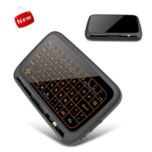 YRRC Mini Wireless Keyboard, Backlit Full Touch Keyboard wiederaufladbare Tastatur 2.4Ghz Light Source Full Size Keyboard Wireless Link Touchpad Win10