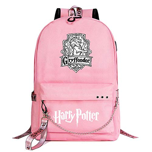 Mochila de Ocio para niña de Hogwarts, Mochila Rosa Harry Potter, con Mochila de Interfaz de Carga USB Style-3