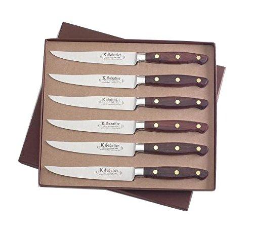 K SABATIER - Coffret De 6 Steaks 13 Cm Gamme Elegance - Acier Inoxydable - Manche Bois - 100% Forge - Entièrement Fabrique en France