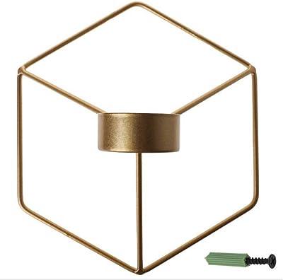 北欧スタイルの3D幾何学的な燭台金属壁キャンドルホルダー壁取り付け用燭台の家の装飾 (Color : Gold)