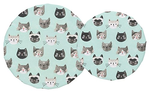 Now Designs, Cats Meow Bowl Covers, Set of 2, 2 Piece