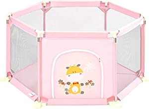 WJSW Baby Playpen 6-Panel Play Yard Indoor Playground Safety Protective Fence Pink  Size 73cm