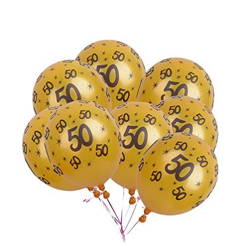 TOYANDONA 50Th Aniversário Decorações 50 20Pcs 50Th Ouro Balões de Látex para O Feliz Ano Velho Tema Fontes Do Partido