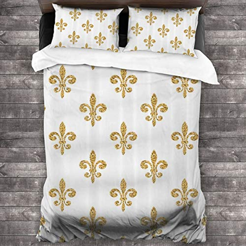 MAYUES Duvet cover bedding Set,Vintage European Lily Aristocratic Dignified Majesty Print,3 Piece Set bedding with 2 pillowcases,Double(200 * 200cm)