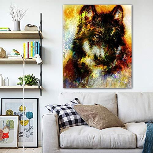 Rahmenlose Malerei Wolf Tier Moderne Kunst Leinwand Dekoration Wandkunst Wohnzimmer Schlafzimmer Studie DekorationZGQ4745 60X80cm