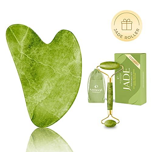 Gua Sha et Rouleau de Jade pour Massage Visage - Rouleau de Massage en Pierre de Jade - Jade Roller Facial Anti-age