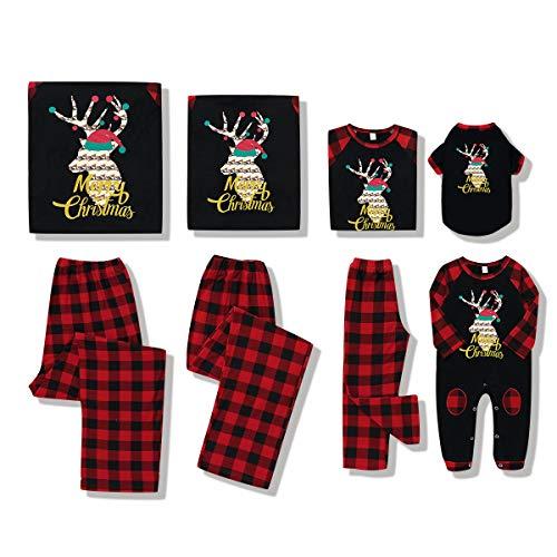 BigBig Style Weihnachtliches Familien-Kleidungs-Set mit Rentier-kariertem Schlafanzug für Väter, Mütter, Babys, Kinder, Haustiere Gr. 0-6 Monate, Baby
