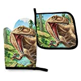 FeHuew 3D Animals Dinosaur T Rex Oven Mitt Set Pot Holder Heat Resistant Hot Kitchen Insulated Glove for Microwave Cooking BBQ Baking Grilling Washable