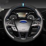 ZHHRHC Cubierta de Cuero para Volante, Apta para Ford Focus 3 2015-2018 Kuga 2016-2019 Escape C-MAX Ecosport 2018-2019
