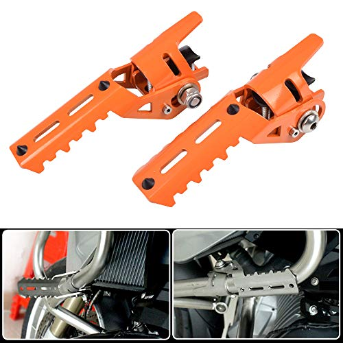 """KYN 25mm 1"""" Motorcycle Highway Footpegs Pegs for BMW R1200GS LC for Triumph Tiger Explorer 25mm 1"""" Engine Guard Crash Bars Mount (Orange)"""