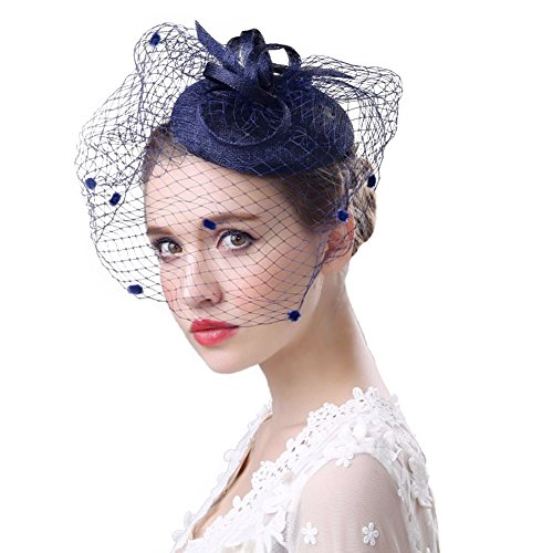 Fascinators Hat Women's Tea Party Church Derby Hat Girls Mesh Race Fancy Veil Wedding Hat Cocktail Hair Clip Hair Fascinators Headband Headwear Derby Hat (Navy Blue)