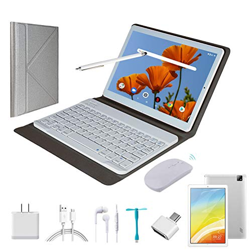 Tablet 10.1 Inch Android 9.0, 2 in1Tablet PC with Wireless Keyboard Mouse& Tablets Case, 4GB RAM +64GB ROM/128GB Computer Tablets, 8MP Quad Core/Dual Sim/8000 mAh,Support 3G/4G Phone Call(Silver)