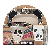 LES DÉGLINGOS Coffret Repas Bébé Bambou (Rototos le Panda) - (Bol, Mug, Assiette, Cuillère et Fourchette) - Vaisselle en Fibre de Bambou - pour les Enfants