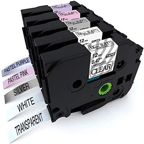 Nastro per Etichette Aken compatibile in sostituzione di Brother P-touch TZe231 Tze-231 12mm Etichette (Viola, Rosa, Bianco, Trasparente, Argento) - per PT 1000 1280 7600 1010 1005 P700, 5 pezzi