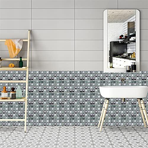 10 Piezas Pegatinas de Azulejos Autoadhesivos,Liwein 30 pcs Decorativos Adhesivos para Azulejos Pegatina de Pared Mosaicos Pegatinas de Baldosas Decorativo para Azulejos de baño y Cocina 10×10cm