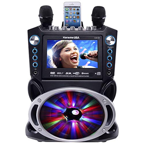 Karaoke USA GF842 DVD/CDG/MP3G Karaoke Machine with 7' TFT Color Screen, Record, Bluetooth and LED Sync Lights