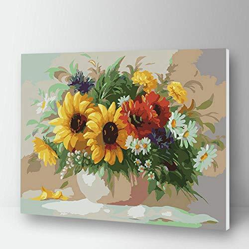 Terilizi bloemen schilderen op cijfers op canvas voor volwassenen, afbeelding op cijfers tekenen na nummer één stuk, acryl kunst set 40 x 50 cm oningelijst